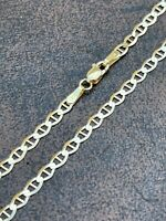 """Real Solid 14k Gold Mariner Gucci Link Chain 3mm Necklace Mens Ladies 16-24"""""""