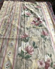 Pretty Shades Of Pink & Yellow Flowers & Stripes Shower Curtain
