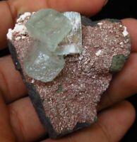 Minerals specimen of green apophyllite on matrix of heulandite - India # 5986