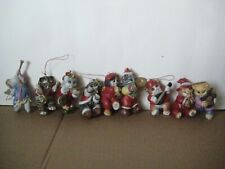 Absorted Ceramic Christmas Tree Ornaments Cats ~ Set of Nine