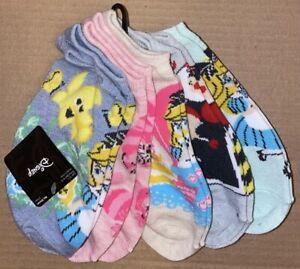 Disney Alice In Wonderland Flowers 5 Pair  Womens No Show Socks NEw
