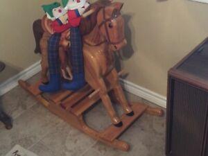 vintage wood rocking horse