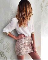 """Olivia"" White Black Rose Gold Sequin Mesh Wrap V-Neck Bodycon Mini Dress 6-12"