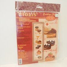 Riolis Embroidery Kit #1257 New Complete Deserts Wall Hanging Pie Donut Coffee