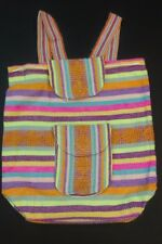 Backpack Baja Mexican Striped Pastels with Yellow Aztec southwest triangles