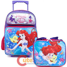"Little Mermaid Ariel Large Wheeled Backpcak 16"" Rolling Lunch Bag 2pc Set Sea"