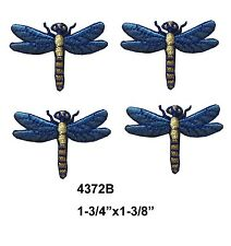 #4372B Lot 4Pcs Blue Dragonfly Embroidery Iron On Applique Patch