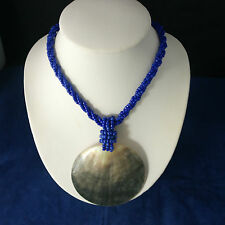 "Beautiful Fashion Necklace With Blue  Strap M.O.P  Pendant 18"" Inc."