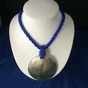 Schöne Mode Halskette Mit Blau Riemen M.O.P Anhänger 45.7cm Inklusive