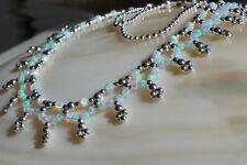 1 synth. weisse opal unikat collier kette mit 925 silber magnetverschluss