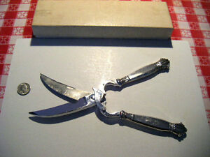 """lobster shears culinary scissors with """"Sterling"""" handles Beautiful flatware tool"""