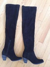 Women's boots Alice and Olivia CORA thigh high over knee black suede Sz 6 NIB