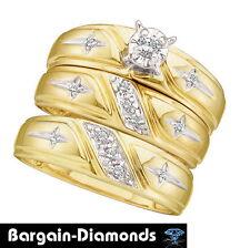 diamond cross 3-ring 14K gold bridal engagement wedding band set christian groom