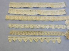 Vintage Ecru Cotton Crocheted Scalloped Lace Loop Trim Lot 6pcs 5+yds