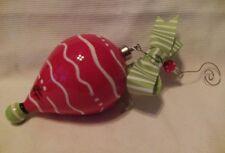 Hand Painted Glass Christmas Ornament Carla Grogan Whimsical Ribbon Beads
