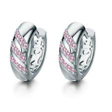 Small Round Women Silver Plated Crystal Hoop Earrings Charm Wedding Jewelry Gift