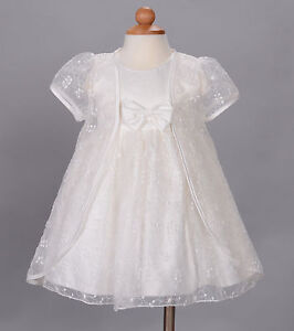 Baby Christening Wedding Party Dress and Cape White Ivory 3 6 9 12 18 Month