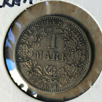 1876-F Germany 1 Mark Silver Coin XF/AU Condition
