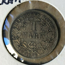 1876-F Germany 1 Mark Silver Coin AU/UNC Condition