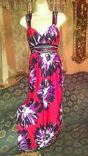 red flower maxi dress large floral 60s print  sleeveless full sundress 6