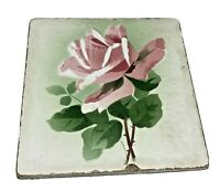 vintage G.M.T & Bro ceramic pink rose hot pad trivet Germany