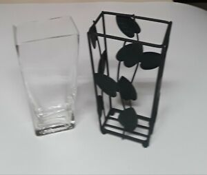 Metal, Hunter Green 3-Leaf Pattern Vase with Glass Insert, 6 ins. Tall, Used