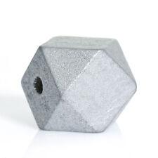 10 Stück Polygon Holzperlen geometrische Form, Silbergrau, D. 20 x 20 mm