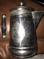 Vintage Ornate Aluminum Stovetop Coffee Pot With Wooden Handle