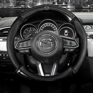 """15"""" Car Steering Wheel Cover Genuine Leather For Mazda Fashion"""