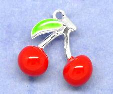5 SILVER PLATED RED ENAMEL 3D CHERRIES FRUIT CHARMS/PENDANTS 16mm~Bracelets(19B)