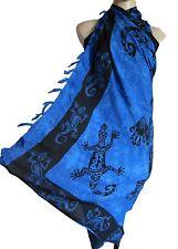 Blue with black lizards gecko beach wrap, scarf, sarong/pareo swimwear cover up