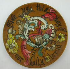 Hand Painted Spruce Wood Plate Give Us This Day Our Daily Bread Wall Art Posey
