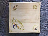 Faïence de Moustiers-dessous de plat carré-oiseau mouche-vintage-made in France