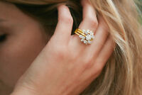 4.43 Ct Diamond Enhancer Engagement Bridal Wrap Ring Sz 7 14K Yellow Gold Over