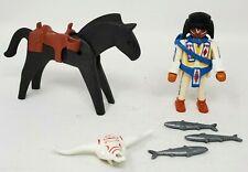 Playmobil 1993 Lot of 6 Native American Warrior Horse 3 Silver Fish Loose EUC