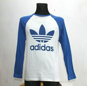 Adidas Retro Style Mens Long Sleeve T Shirt White And Navy Size Small