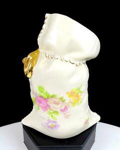 """LENIEGE PORCELAIN FLORAL DESIGN GOLD STITCHING 5 3/8"""" GIFT BAG VASE"""