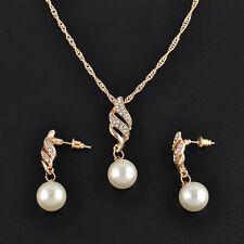Fashion Wedding Bridal Diamante Jewellery Crystal Pearl Necklace + Earring Set
