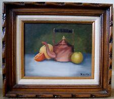 Ruth Costa VTG Still Life Original Oil Painting Wood Frame Copper Kettle Fruit