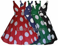 New 40's 50's Vintage Retro Big Polka Dot Lightweight Cotton Flared Dress 8 - 20