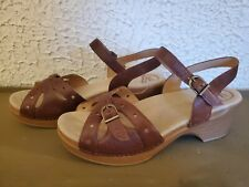 Womens DANSKO Brown Leather Ankle Strap Wedge Heel Sandals SIZE 41 US 10.5-11