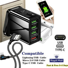 USB Plug Fast Charge Wall Charger Multi Quick Charging 3.0 UK 4-Port Adapters