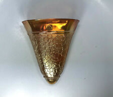 Vintage Jeanette Marigold Orange Carnival Fan Shape Glass Wall Pocket