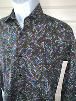Jared Lang Sz SMALL Button Up Shirt Wild Paisley Print L/S Spread Collar EUC