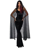 Dreamgirl Black Lace Hooded Gothic Cape Adult Womens Halloween Costume 11192