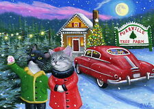 Kittens cat car Christmas tree lot moon winter holiday OE aceo print art