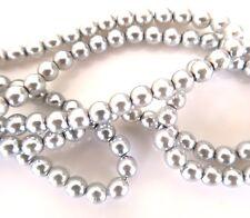 Tanzanite couleur argent 4mm round czech glass pearl poli perles x 25