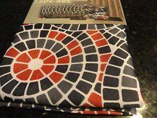 13 pc Fabric SHOWER CURTAIN~Dark Charcoal Gray Brick Red Circular TILES ~Hooks