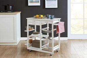 Ovela Sanibel Wooden Kitchen Trolley Mobile Storage (White)