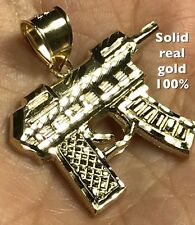 10k SOLID REAL GOLD UZI GUN Weapon pistol Pendant Charm yellow 1.75""